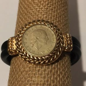 Italian coin gold tone black leather bracelet 8""